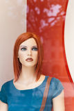 Female display dummy. Portrait of a female dummy in window display Royalty Free Stock Photography
