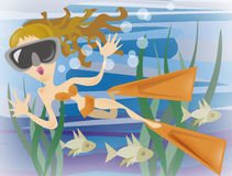 Female Diver. An illustration of a female diver with fish in the sea Stock Image