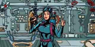 Female diver hunter in submarine. military commando fighter. Pop art retro vector illustration vintage kitsch royalty free illustration