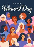 Female diverse faces of different ethnicity poster. Women empowerment movement pattern. International womens day graphic. Female diverse faces of different stock illustration