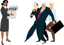 Diversity hire problems. Female diversity hire meeting discrimination and prejudice, EPS 8 vector illustration vector illustration