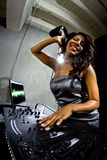 Female DJ with Computer Display Stock Photos