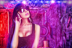 Female dj disco Stock Images