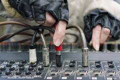 Female DJ hands Stock Image