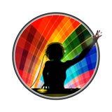 Female DJ silhouette in multicoloured border Royalty Free Stock Photo