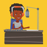 Female dj working on the radio vector illustration Royalty Free Stock Images