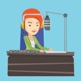 Female dj working on the radio vector illustration Stock Photography