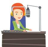 Female dj working on the radio vector illustration Stock Photo