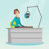 Female dj working on the radio vector illustration Stock Images