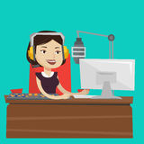 Female dj working on the radio vector illustration Stock Photography