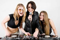 Female Djs and a singer Royalty Free Stock Photography