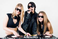 Female Djs and a singer Royalty Free Stock Photos