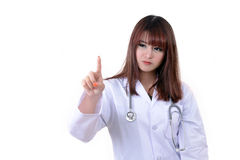Female doctor action in studio. Stock Image