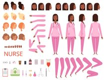 Female doctor animation. Nurse hospital character body parts and clothes healthcare mascot creation kit vector. Illustration of medical female animation stock illustration