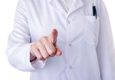 Female doctor assistant scientist in white coat over  isolated background Stock Images