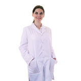Female doctor assistant scientist in white coat over  isolated background Stock Image