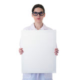 Female doctor assistant scientist in white coat over  isolated background Royalty Free Stock Images