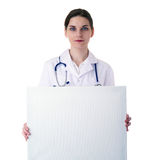 Female doctor assistant scientist in white coat over  isolated background Royalty Free Stock Photos