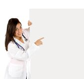 Female doctor with a banner Royalty Free Stock Photo