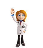 Female doctor with with best sign Stock Photo