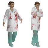 Female doctor in bloody robe Stock Photos