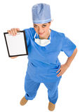 Female doctor with board Royalty Free Stock Images