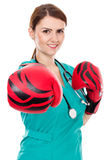Female doctor with boxing gloves ,challenge concept Stock Photo