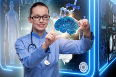 The female doctor with the brain in medical concept Royalty Free Stock Photos