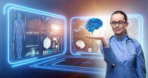 The female doctor with the brain in medical concept Stock Photography