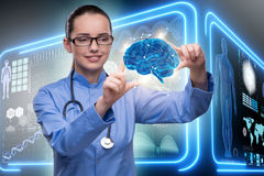 The female doctor with the brain in medical concept Royalty Free Stock Image