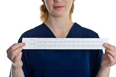 Female doctor with cardiogram. Over white background stock photography