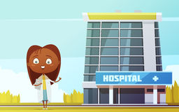 Female Doctor Cartoon Figurine At City Hospital Royalty Free Stock Image