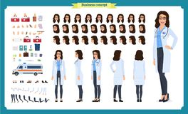 Female doctor character creation set.Front, side, back view animated character.Doctor character creation set with various views. Face emotions, poses, gestures vector illustration