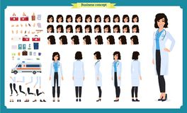 Female doctor character creation set. Full length, different views, emotions, gestures. isolated vector design.Cartoon flat-style. Female doctor character Royalty Free Stock Images
