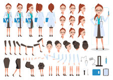 Female Doctor. Character creation set. Icons with different types of faces and hair style, emotions, front, rear, side view of female person. Moving arms, legs vector illustration