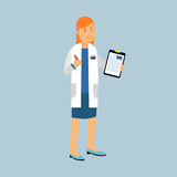 Female doctor character in a white coat standing and filling the medical report or prescription, medical care Illustration stock illustration