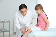 Female doctor cleaning little girl`s leg injury in clinic