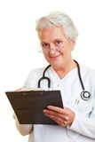 Female doctor with clipboard Stock Photography