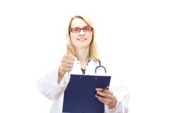 Female doctor with clipboard Royalty Free Stock Image