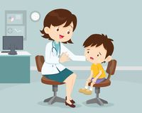 Female Doctor Comforting Her Crying Patient kid. Female Doctor Comforting Her Patient boy. Healthcare for children. Pediatrician in the Clinic Stock Image