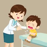 Female Doctor Comforting Her Crying Patient boy. Female Doctor Comforting Her Patient boy. Healthcare for children. Pediatrician in the Clinic royalty free illustration