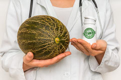 Female doctor compare pile of pills with fresh melon Royalty Free Stock Images