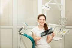 Female doctor or dentist looking at x-ray. Healthcare, medical and radiology concept royalty free stock photography