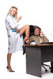 Female doctor and depressed businessman. Stock Photos