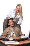 Female doctor and depressed businessman. Royalty Free Stock Image