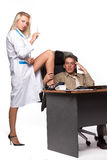 Female doctor and depressed businessman. Stock Image