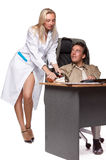 Female doctor and depressed businessman. Royalty Free Stock Images