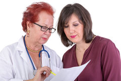 Female Doctor Discussing Ressults with Female Patient Stock Photos