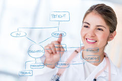 Female doctor drawing a graph Royalty Free Stock Photos