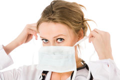 Female doctor dress mask Royalty Free Stock Photography